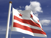 DC Flag waving on a flagpole against a clear sky