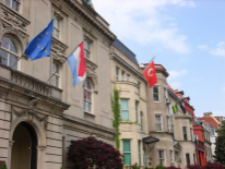 DC Embassy Row buildings and flags