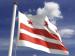 DC Flag waving on a flagpole against a clear sky
